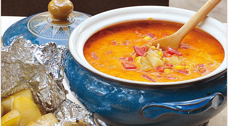 Рецепт Суп из кукурузы на гриле и запеченного картофеля