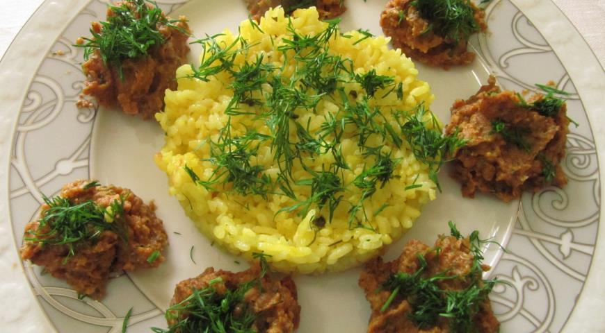 Рецепт Золотистый рис с паштетом из маша