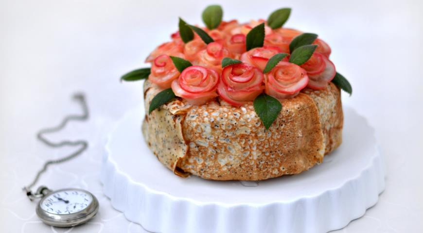 Рецепт Блинный торт Розовый букет