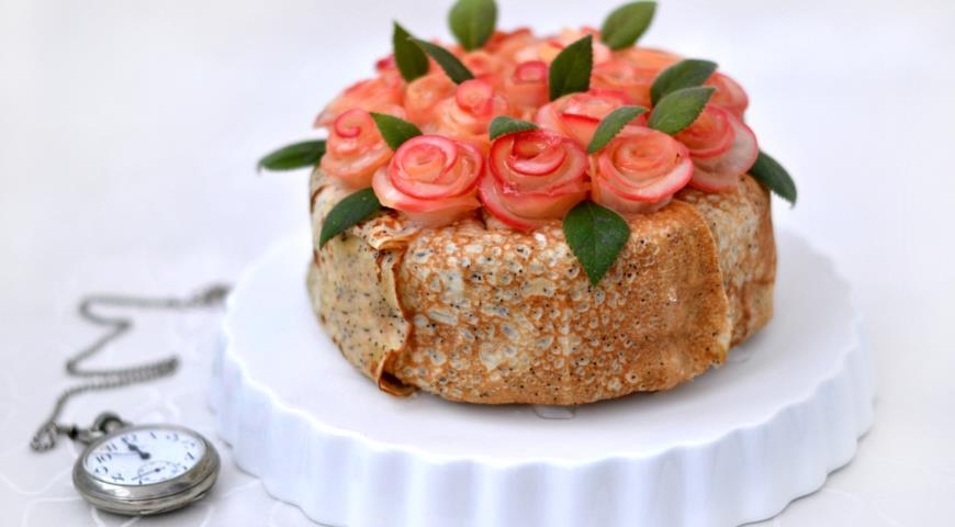Блинный торт Розовый букет. Шаг 20