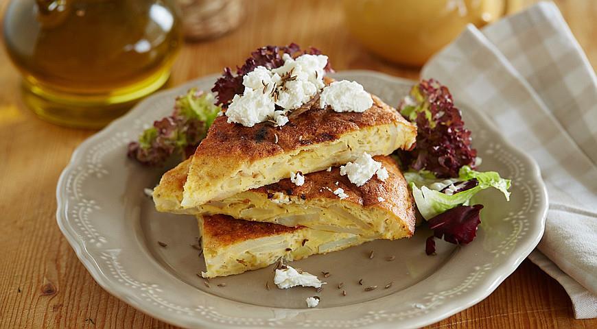 Рецепт Тортилья с картофелем, брынзой и тмином
