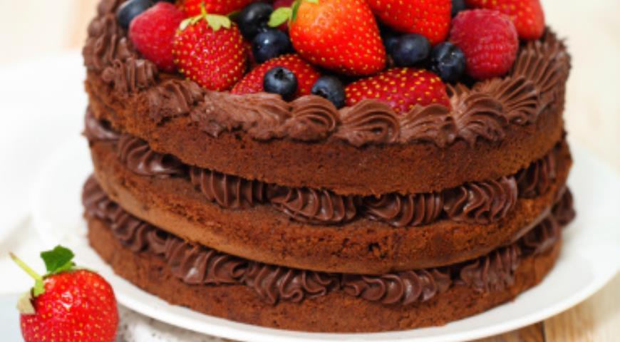 Рецепт Шоколадный торт «ЯГОДНАЯ ПОЛЯНА В ЛЕСУ ПРИФРОНТОВОМ»