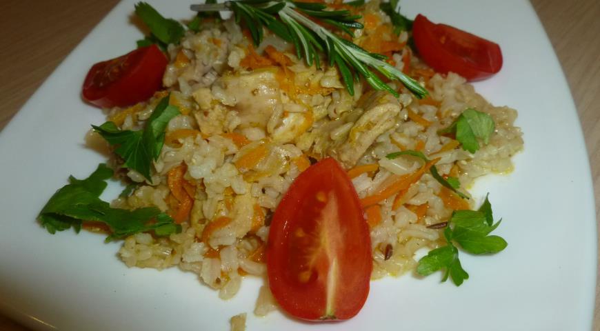 Рецепт Плов с мясом кролика и коричневым рисом