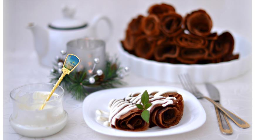 Рецепт Тоненькие шоколадные блинчики