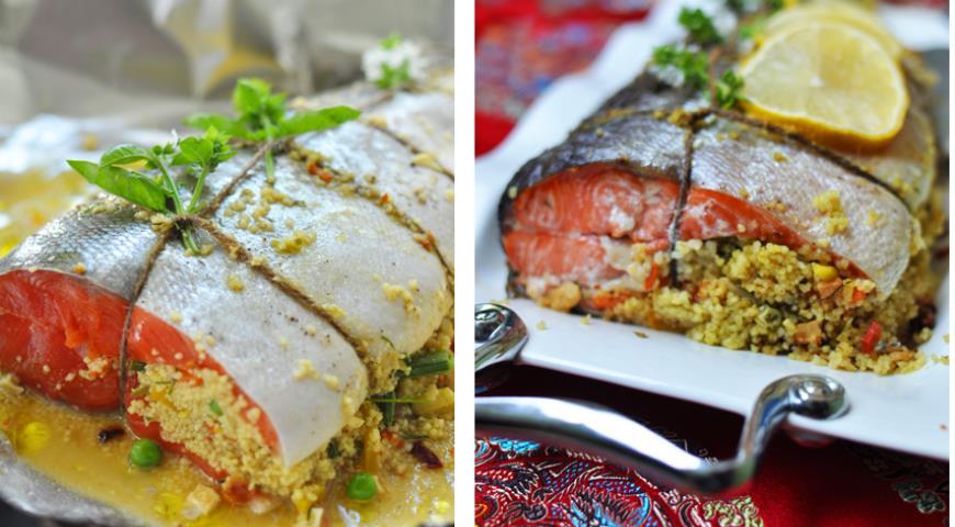 Рецепт Запеченный лосось, фаршированный кускусом и овощами