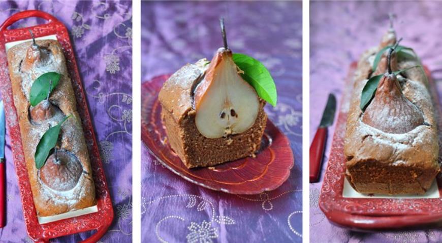 Рецепт Шоколадный кекс с грушами
