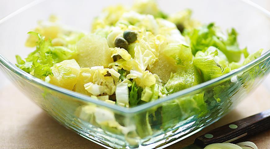 Рецепт Зелёный салатик с запеченой редькой и каперсами