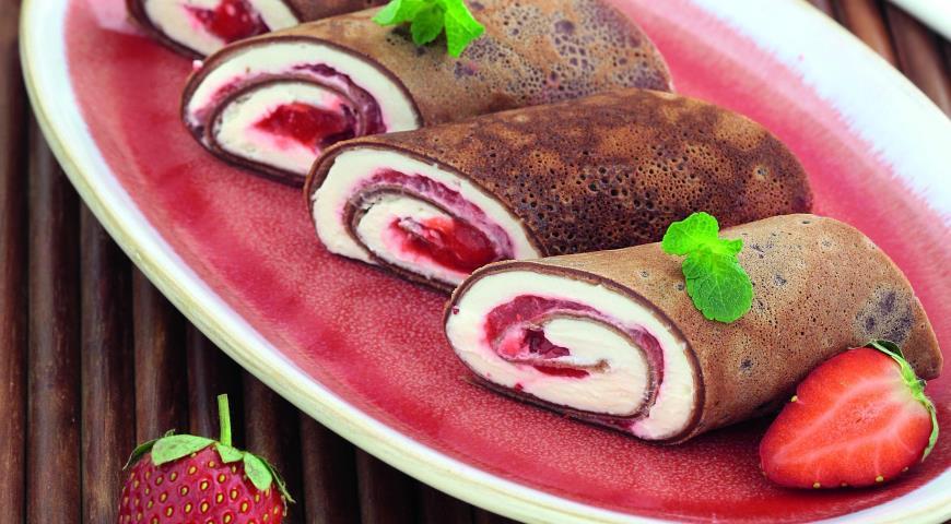 Рецепт Шоколадные блинные рулетики