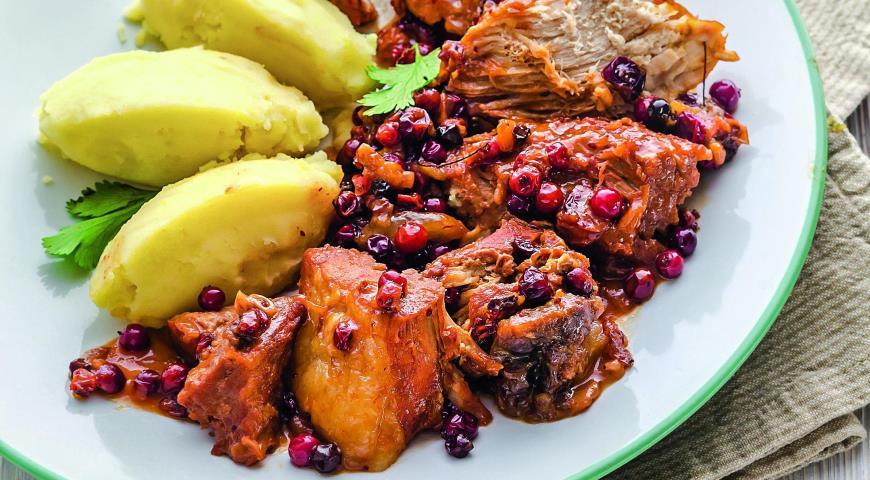 Рецепт Свинина с клюквой и горчицей