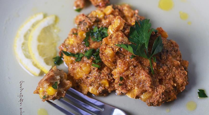 Рецепт Кукурузные оладушки с ароматной лимонной заправкой