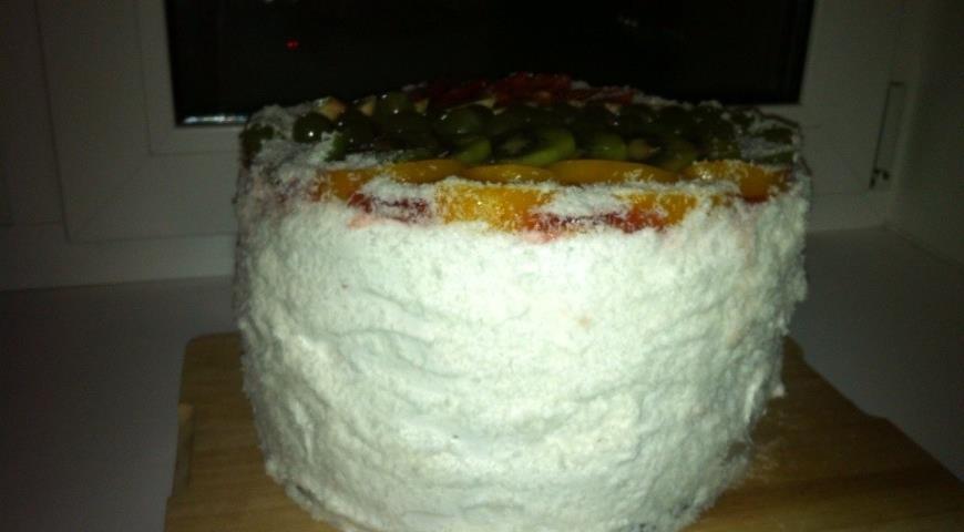 Рецепт Бисквитный торт с творожным суфле