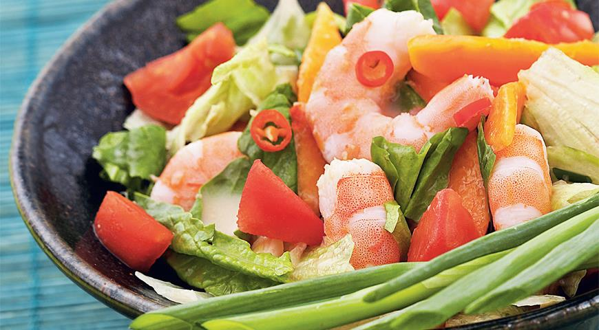 Рецепт Тайский салат из папайи с креветками