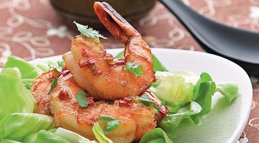 Рецепт Тайский салат с тигровыми креветками