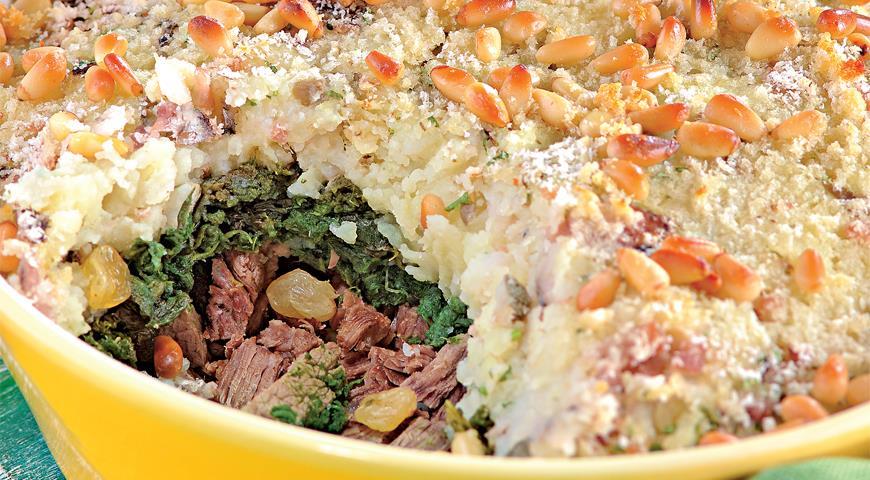 Рецепт Картофельная запеканка с мясом и шпинатом