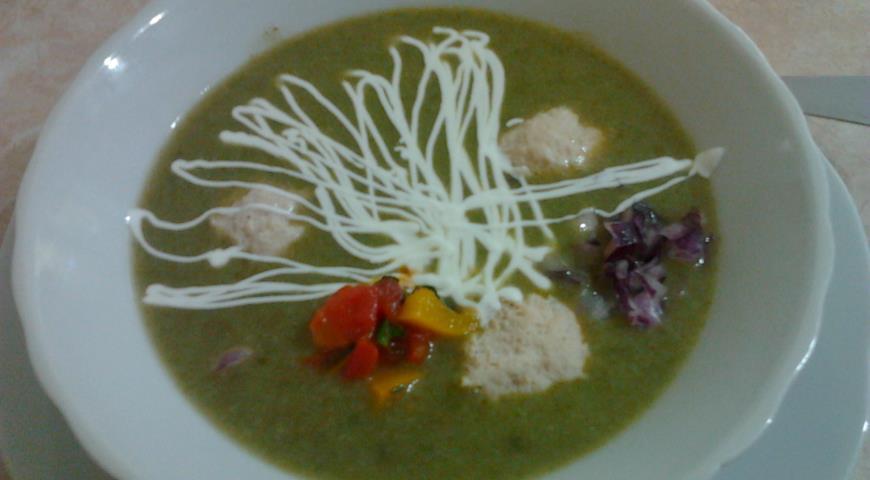 Рецепт Суп пюре с рисом и шпинатом.