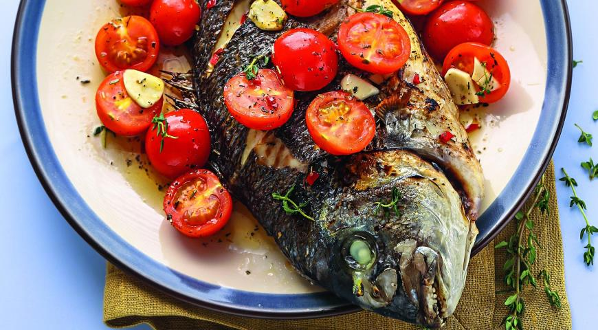Рецепт Рыба с помидорами в греческом стиле