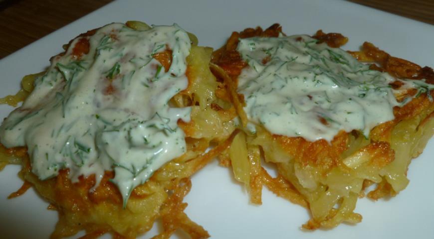 Рецепт Драники с сыром и горчичным соусом