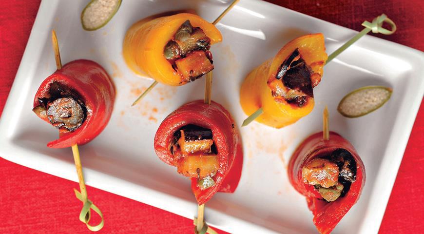 Рецепт Рулетики из перца и баклажанов