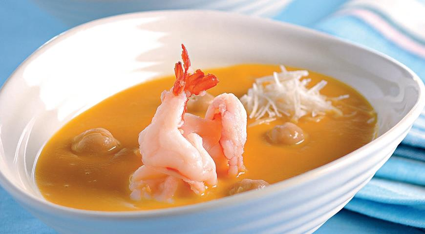 Рецепт Тыквенный суп-пюре с нутом и креветками
