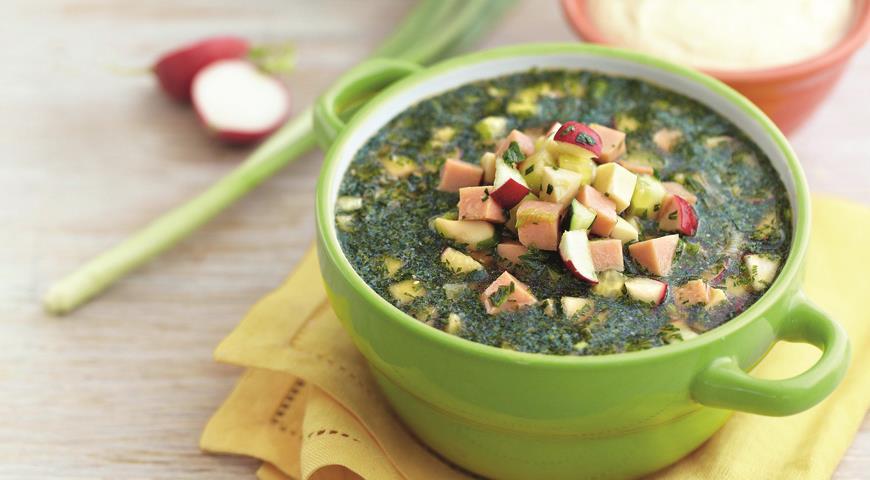 Рецепт Холодный овощной суп с ветчиной