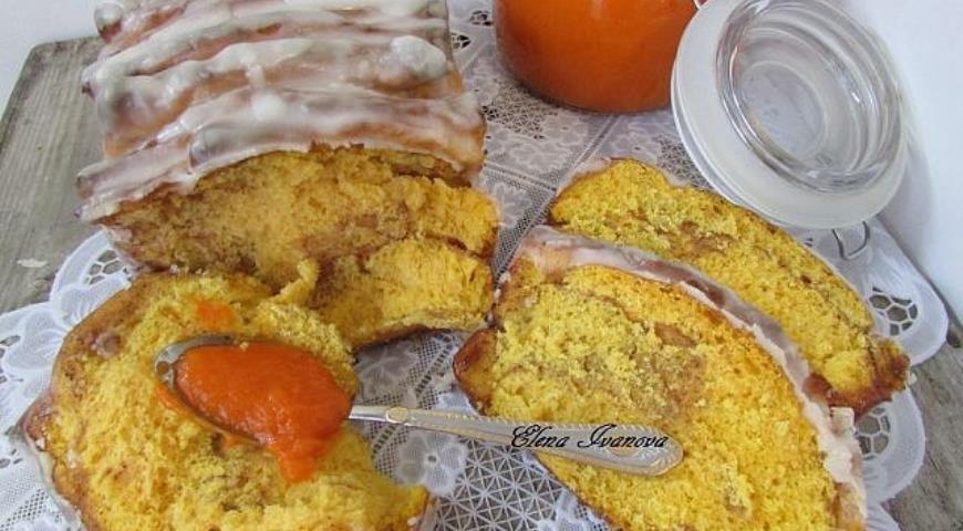 Рецепт Постный отрывной тыквенный хлеб с корицей