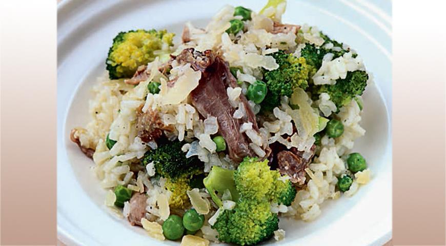Рецепт Ризотто с запеченной цесаркой и зелеными овощами