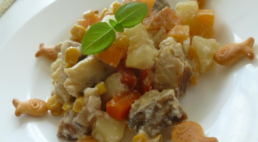 Рецепт Жаркое из трески с репой и кукурузой