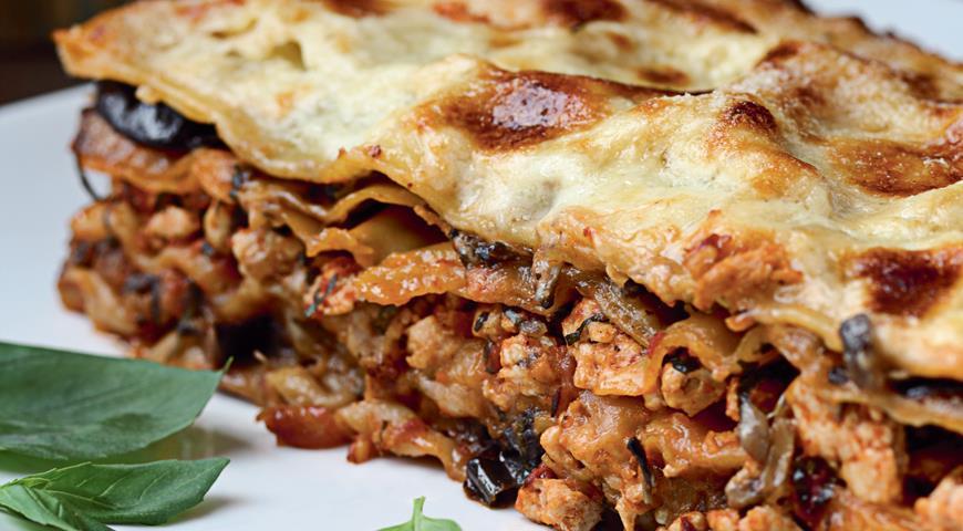 Рецепт Лазанья с цесаркой, овощами и грибами