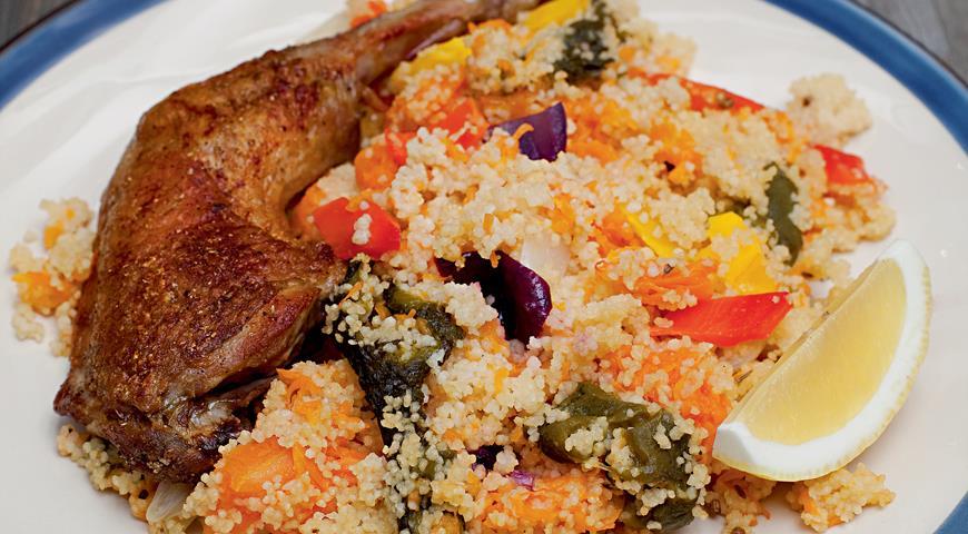 Рецепт Пряный кускус с цесаркой и печеными овощами