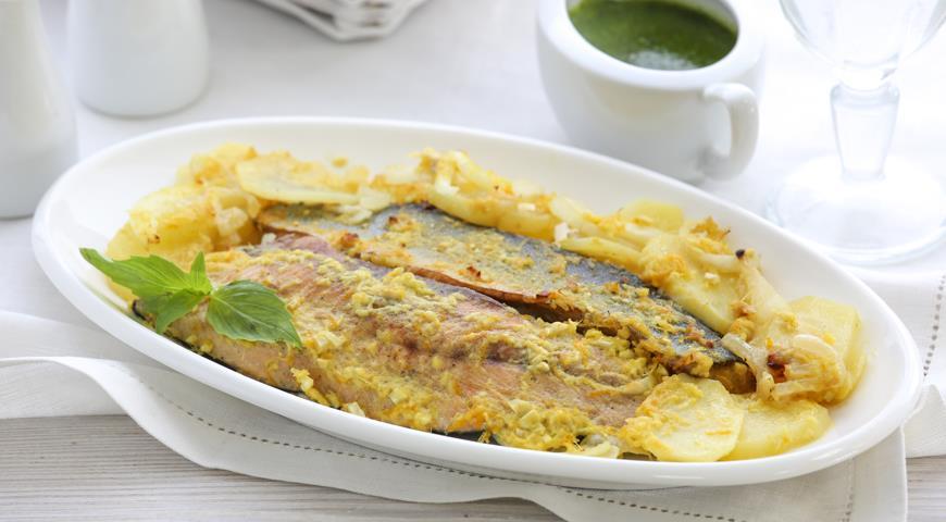 Рецепт Голец с картофелем и соусом песто