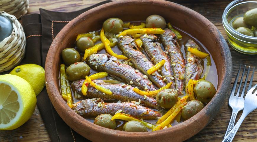 Рецепт Барабулька с оливками и сладким перцем