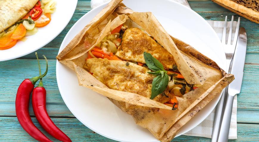 Рецепт Камбала в «конверте» с имбирем
