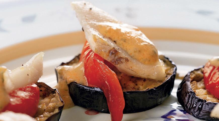 Рецепт Рыба на тарелочках из баклажанов