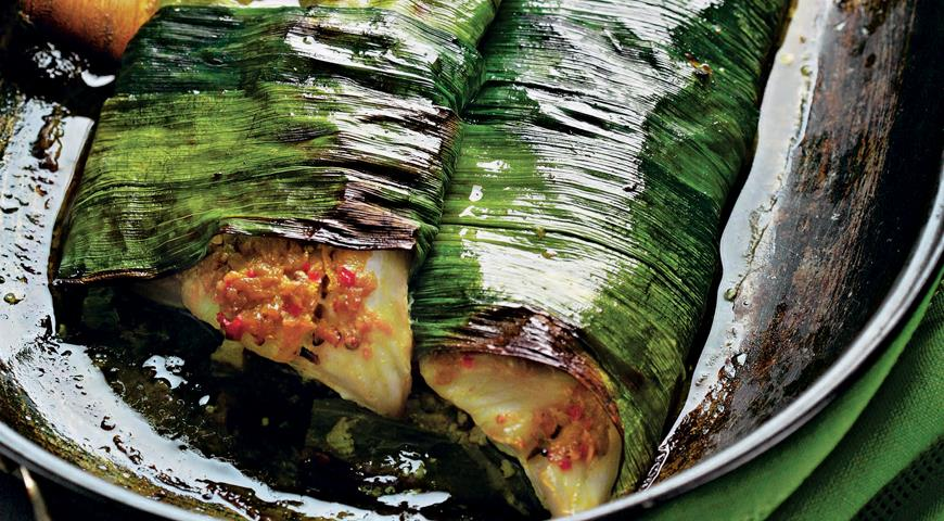 Рецепт Пикша, запеченная в листьях лука-порея