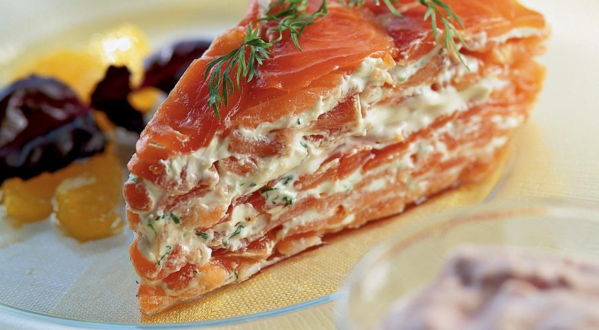 Рецепт Слоеный пирог с копченым лососем от Гарри Роудза