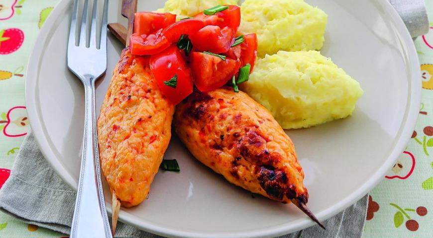 Рецепт Куриные кебабы и пюре с цветной капустой