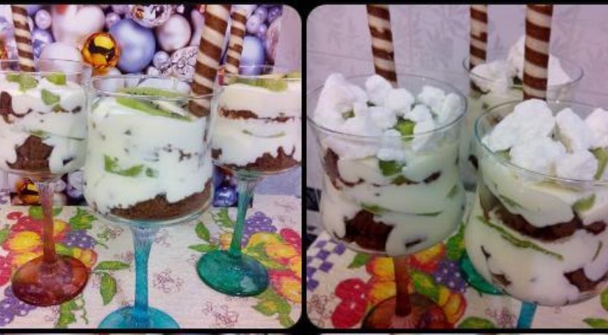 Рецепт Десерт с киви и шоколадным печеньем
