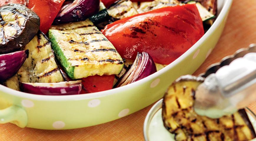 Рецепт Овощи-гриль с базиликовой заправкой