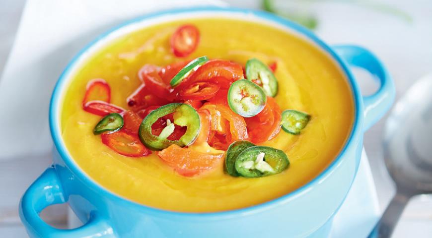 Рецепт Тыквенный суп-пюре с запеченным сладким перцем