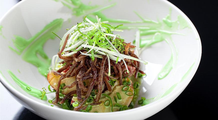Рецепт Нектарины с васаби и жареной рваной говядиной