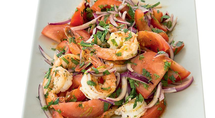 Рецепт Салат из помидоров с креветками