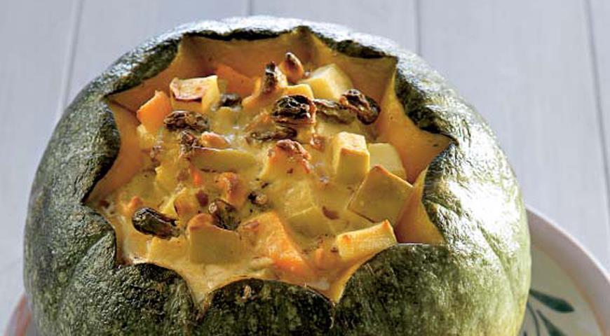 Рецепт Запеченная фаршированная тыква с мускатным орехом