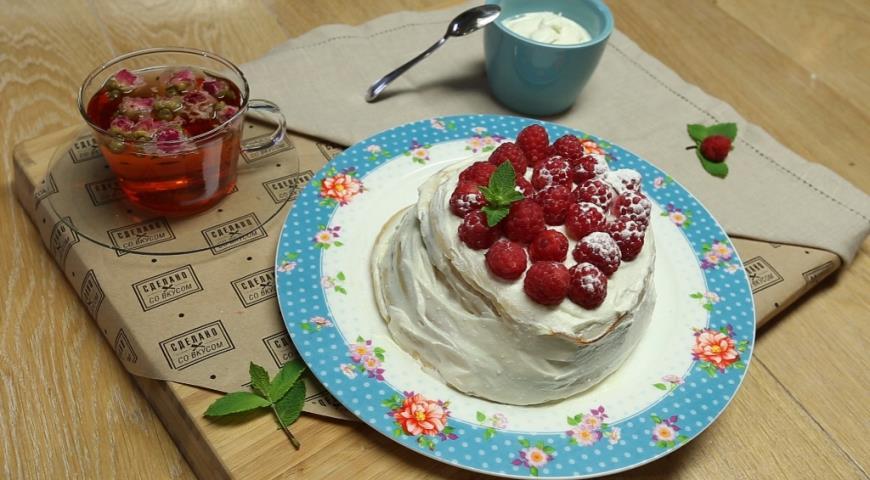 Рецепт Панкейки с творожным кремом и малиной
