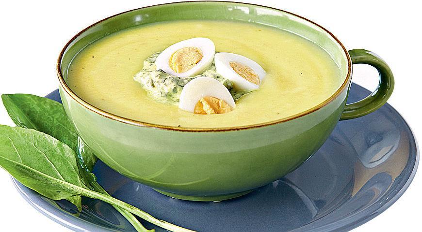 Рецепт Холодный суп из щавеля с перепелиными яйцами