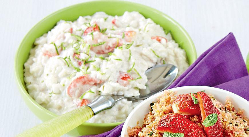Рецепт Рисовая каша с клубникой и кокосовым молоком