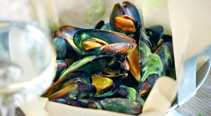 Рецепт Мидии в соусе из петрушки и имбиря