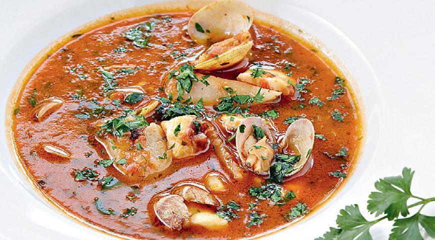 Рецепт Томатный суп с морепродуктами