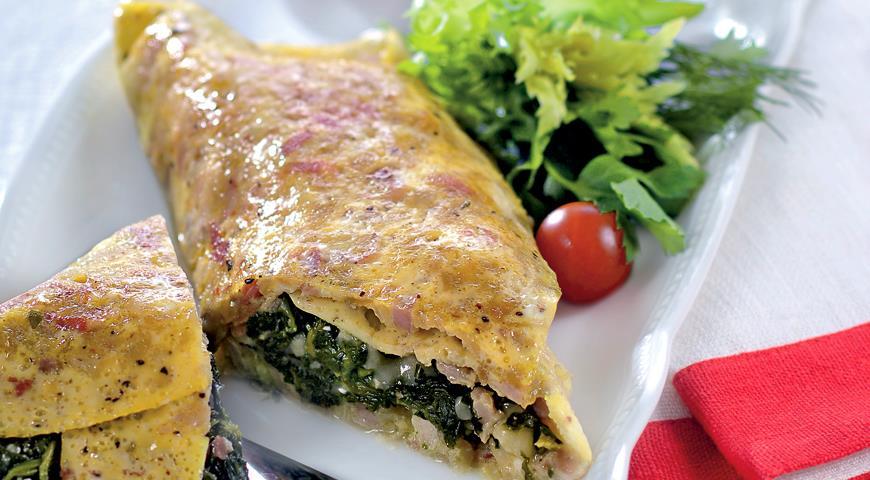 Рецепт Омлет со шпинатом и колбасой