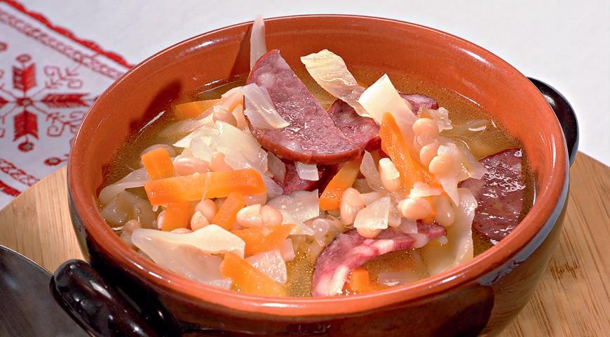 Рецепт Польский фасолевый суп с колбасой
