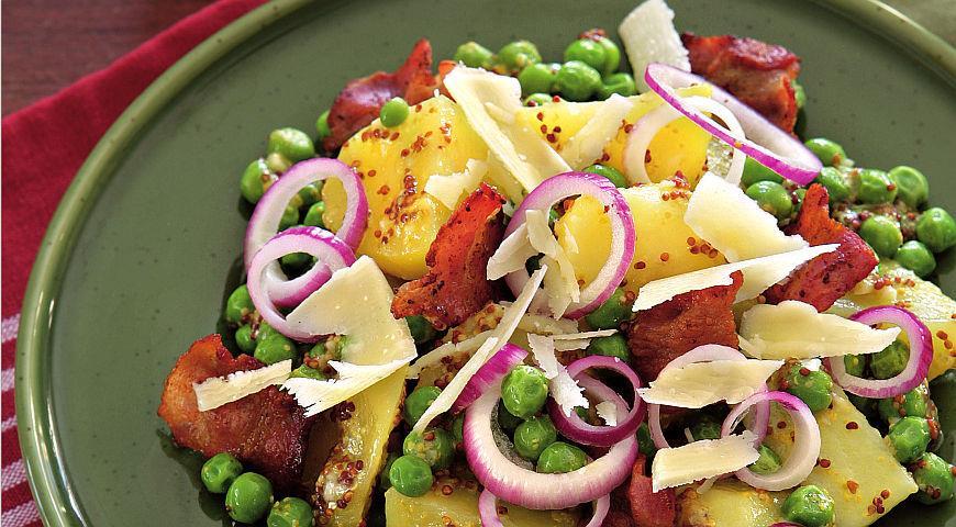 Рецепт Картофельный салат с зеленым горошком и беконом